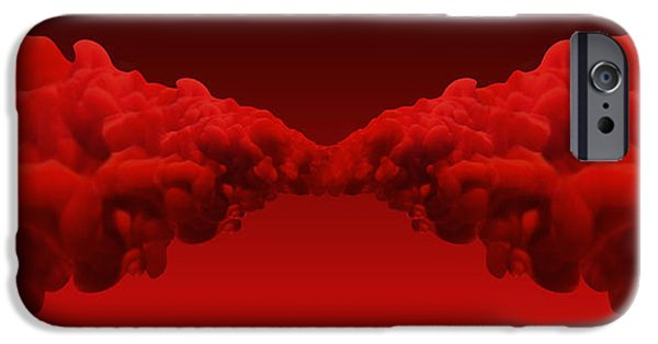 Merging iPhone Cases - Abstract Merging Red Inks iPhone Case by Allan Swart