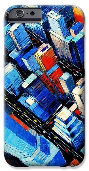 City Paintings iPhone Cases - Abstract New York Sky View iPhone Case by Mona Edulesco