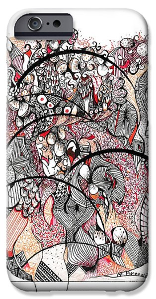 Sepia Ink Drawings iPhone Cases - Abstract Orange iPhone Case by Ronda Breen