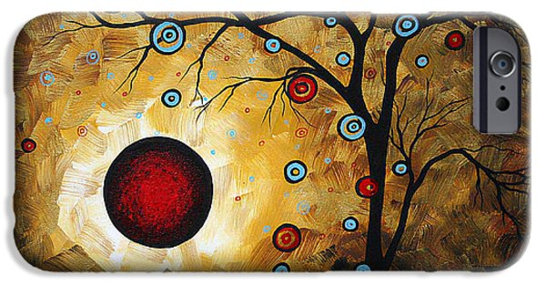 Madart iPhone Cases - Abstract Original Gold Textured Painting FROSTED GOLD by MADART iPhone Case by Megan Duncanson