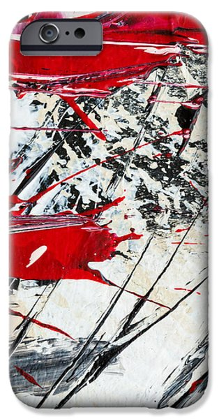 Slash Paintings iPhone Cases - Abstract Original Painting Untitled Ten iPhone Case by Maria  Lankina