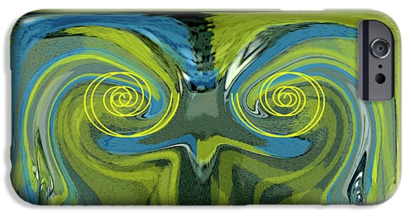Green Surreal Geometric iPhone Cases - Abstract Owl Portrait iPhone Case by Ben and Raisa Gertsberg