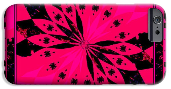 Floral Digital Art Digital Art iPhone Cases - Abstract Petals 3panel Pink iPhone Case by Margaret Newcomb