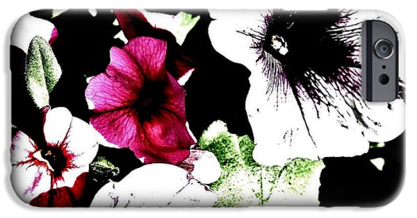 Wrap Digital Art iPhone Cases - Abstract Petunias iPhone Case by Marsha Heiken