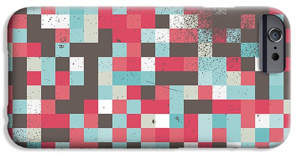 Geometric Artwork iPhone Cases - Abstract Pixel Art iPhone Case by Mike Taylor