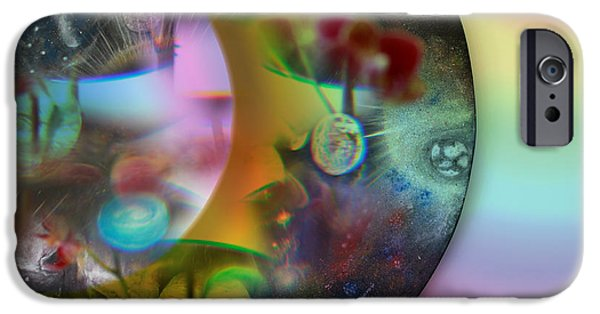 Silver Turquoise iPhone Cases - Abstract Planets iPhone Case by Augusta Stylianou