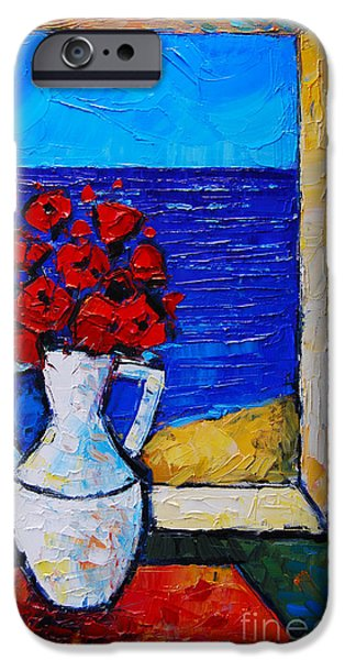 Recently Sold -  - Red Abstract iPhone Cases - Abstract Poppies By The Sea iPhone Case by Mona Edulesco