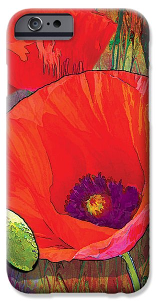 Red Abstract iPhone Cases - Abstract Poppy B iPhone Case by Grace Pullen