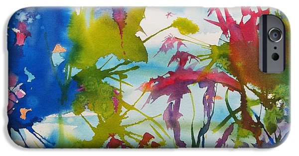 Splashy Paintings iPhone Cases - Abstract -  Primordial Life iPhone Case by Ellen Levinson