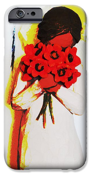 Miracle iPhone Cases - Abstract Print Art Flower Girl 2 iPhone Case by Ella Kaye Dickey