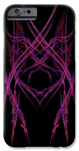 Consciousness iPhone Cases - Abstract Purple Alien Face On Black Background iPhone Case by Keith Webber Jr