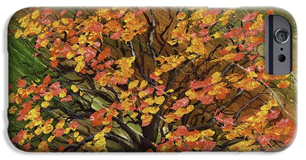 Lone Tree iPhone Cases - Abstract Red And Orange Tree Painting iPhone Case by Keith Webber Jr