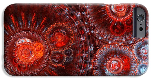 Geometric Effect iPhone Cases - Abstract red circle fractal  iPhone Case by Martin Capek