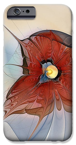 Abstract Red Flower iPhone Case by Karin Kuhlmann