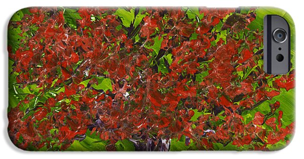 Lone Tree iPhone Cases - Abstract Red Maple Tree Painting iPhone Case by Keith Webber Jr