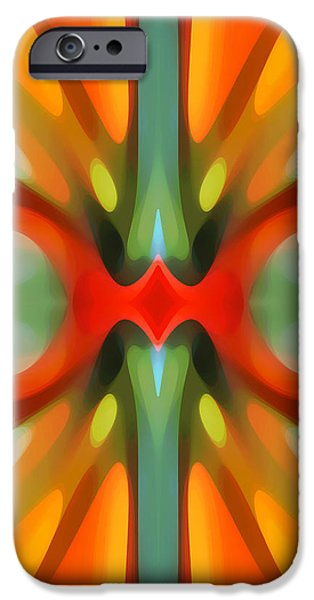 Abstract Red Tree Symmetry iPhone Case by Amy Vangsgard