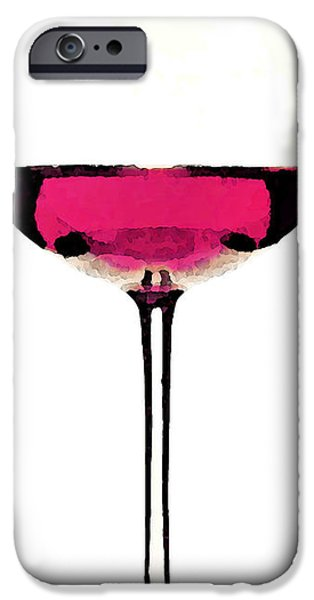 Cabernet Sauvignon iPhone Cases - Abstract Red Wine Glass 1 iPhone Case by Sharon Cummings