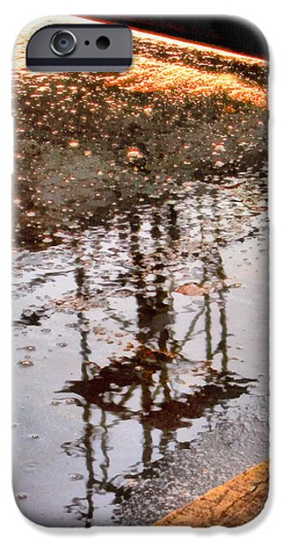Asphalt Paintings iPhone Cases - Abstract reflections in water iPhone Case by Odon Czintos