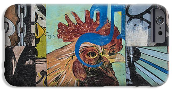 Mural Mixed Media iPhone Cases - Abstract Rooster Panel iPhone Case by Terry Rowe