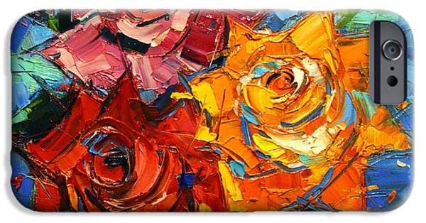 Leave iPhone Cases - Abstract Roses On Blue iPhone Case by Mona Edulesco