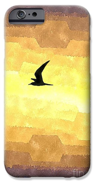 Flying Seagull Mixed Media iPhone Cases - Abstract Seagull Flight iPhone Case by Brian Raggatt
