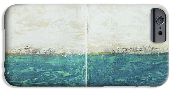 Sun Rays Paintings iPhone Cases - Abstract seascape 02/14 diptych iPhone Case by Filippo B