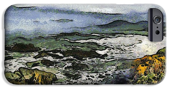 Abstract Seascape iPhone Cases - Abstract Seascape Morro Bay California iPhone Case by Barbara Snyder