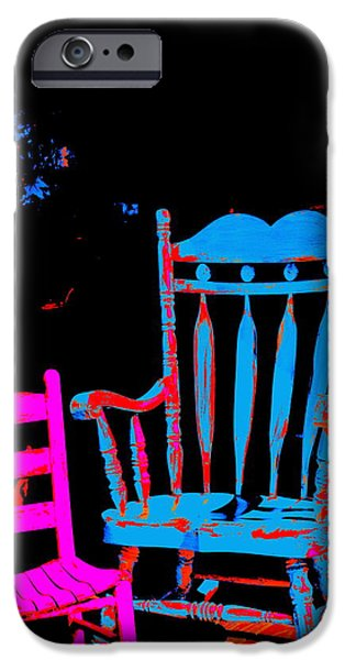 Ladderback Chair iPhone Cases - Abstract Sitdown and M iPhone Case by Kathy Barney