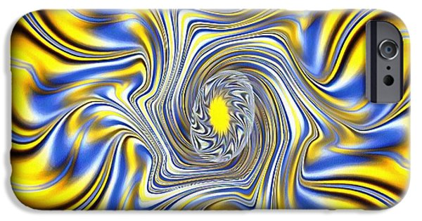 Catherine White Digital Art iPhone Cases - Abstract Spun Flower iPhone Case by Catherine Lott