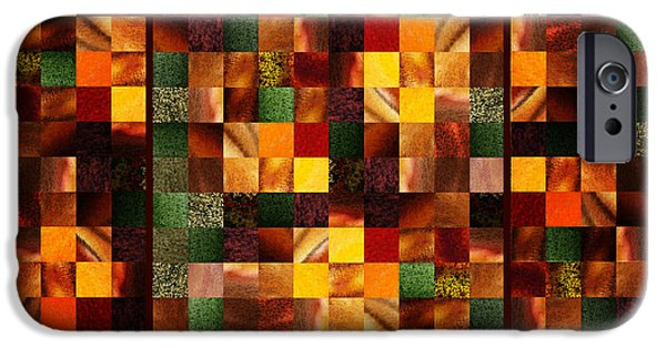 Abstract Digital Paintings iPhone Cases - Abstract Squares Triptych Gentle Brown iPhone Case by Irina Sztukowski