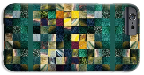 Abstract Digital Paintings iPhone Cases - Abstract Squares Triptych Gentle Green iPhone Case by Irina Sztukowski