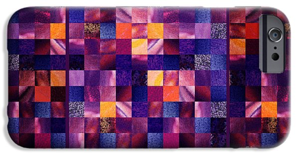 Abstract Digital Art Paintings iPhone Cases - Abstract Squares Triptych Gentle Purple iPhone Case by Irina Sztukowski