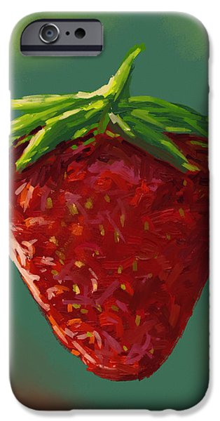 Abstract Digital Paintings iPhone Cases - Abstract strawberry iPhone Case by Veronica Minozzi