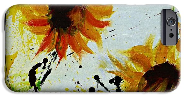 Gruenwald iPhone Cases - Abstract Sunflowers 2 iPhone Case by Ismeta Gruenwald