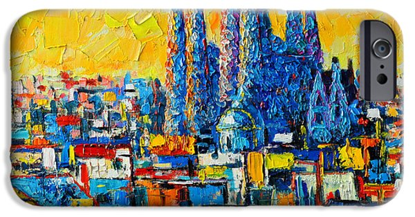 Building iPhone Cases - Abstract Sunset Over Sagrada Familia In Barcelona iPhone Case by Ana Maria Edulescu