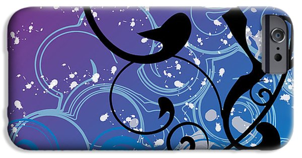 Blue Abstracts Digital iPhone Cases - Abstract Swirl iPhone Case by Mellisa Ward