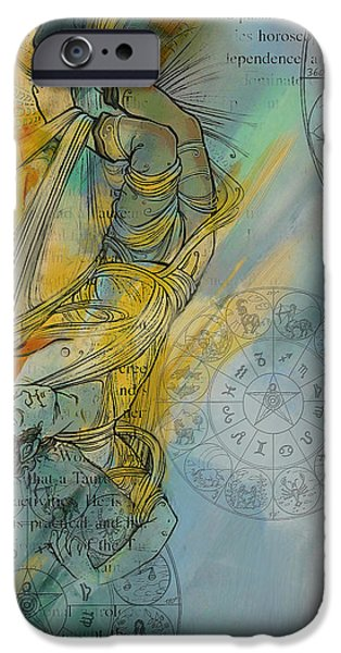 The Sun God iPhone Cases - Abstract Tarot Art 015 iPhone Case by Corporate Art Task Force