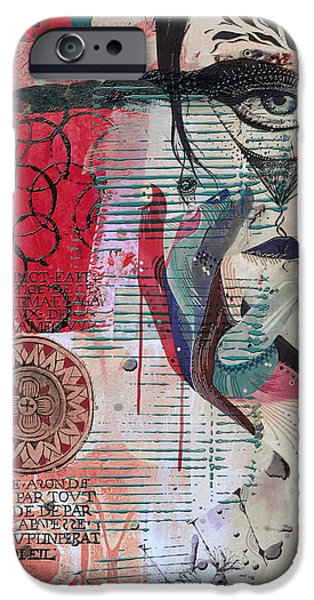 Abstract On Canvas Paintings iPhone Cases - Abstract Tarot Card 008 iPhone Case by Corporate Art Task Force