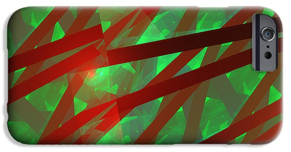 Geometric Effect iPhone Cases - Abstract Tiled Green And Red Fractal Flame iPhone Case by Keith Webber Jr
