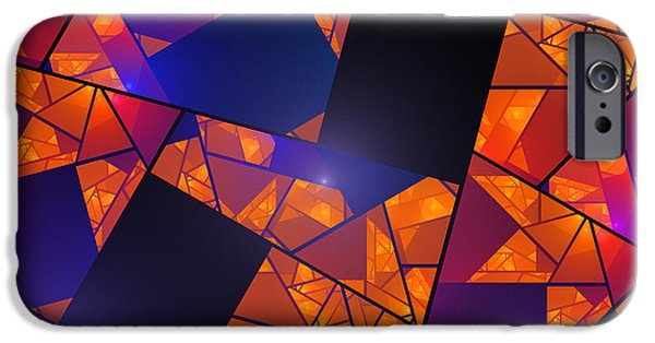 Geometric Effect iPhone Cases - Abstract Tiled Orange And Blue Fractal Flame iPhone Case by Keith Webber Jr