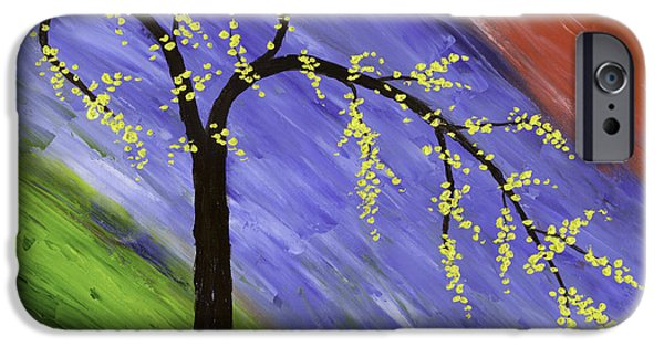Lone Tree iPhone Cases - Abstract tree painting iPhone Case by Keith Webber Jr