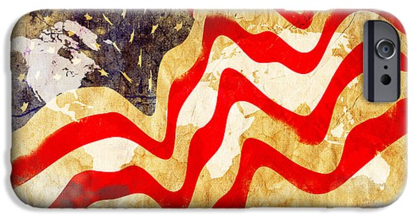 4th July iPhone Cases - Abstract USA Flag iPhone Case by Stefano Senise