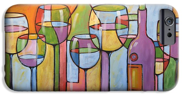 Red Wine Prints iPhone Cases - Abstract Wine Dining Room Bar Kitchen Art ... Time To Relax iPhone Case by Amy Giacomelli
