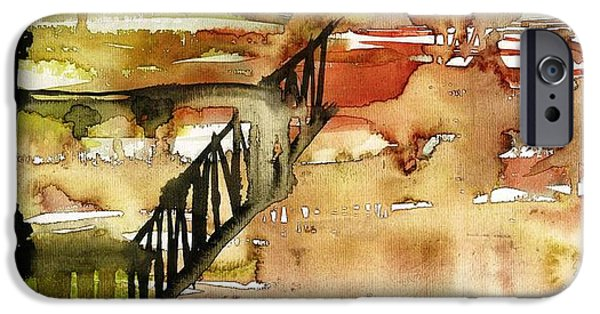 Merging Paintings iPhone Cases - Abstract with a wooden staircase iPhone Case by Makarand Joshi