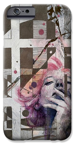 Abstract Fashion Art iPhone Cases - Abstract Woman 001 iPhone Case by Corporate Art Task Force