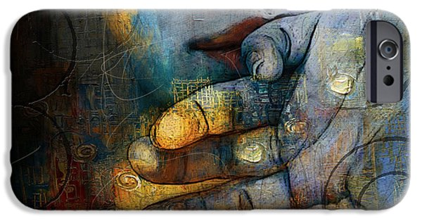 Abstract On Canvas Paintings iPhone Cases - Abstract Woman 011 iPhone Case by Corporate Art Task Force