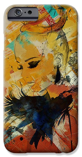 Abstract Expressionism iPhone Cases - Abstract Women 010 iPhone Case by Corporate Art Task Force