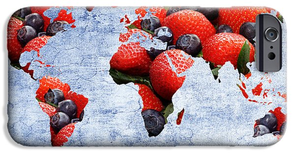 Berry Mixed Media iPhone Cases - Abstract World Map - Berries And Cream - Blue iPhone Case by Andee Design