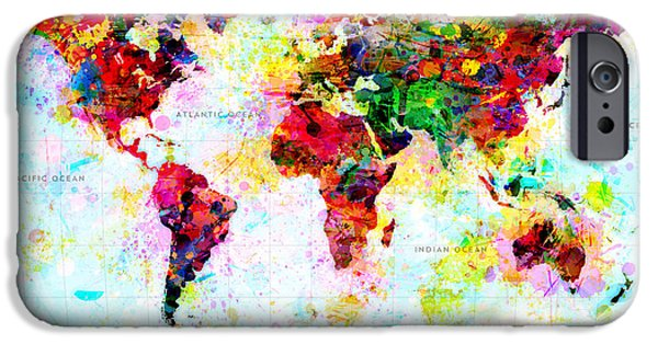 Earth Map Digital iPhone Cases - Abstract World Map iPhone Case by Gary Grayson