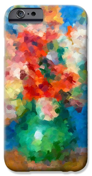 Flower Still Life Mixed Media iPhone Cases - Abstracting Renoir iPhone Case by Georgiana Romanovna